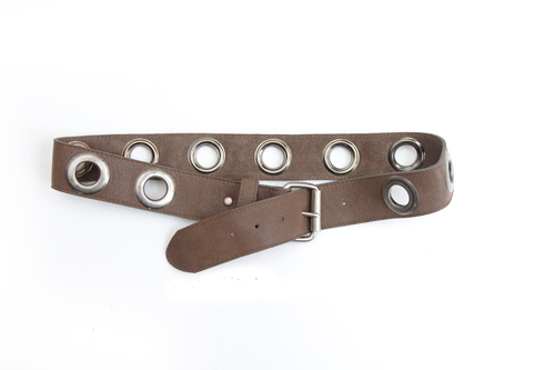 Kim White Grommet Belt in Grey