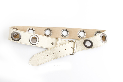 Kim White Grommet Belt in Cream
