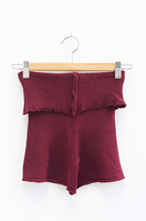 Foldover Shorts in Aubergine