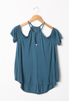 Cold Shoulder Top Deep Ocean Green