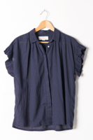 Birds Ruffle Sleeve Navy
