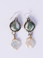Opal Coin Pearl Earrings