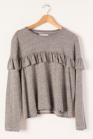 Ruffle Yoke Tee Heather