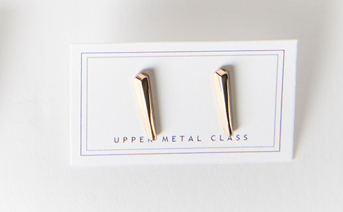 Upper Metal Class Crystal Bar Earrings