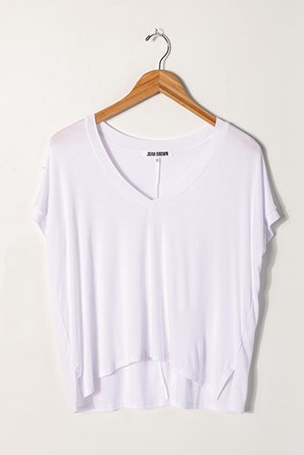 Joah Brown Boxy V Tee White